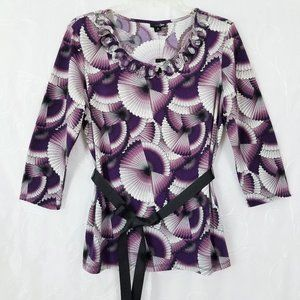 East 5th M 3/4 Sleeve Decorative Neckline W/Ties